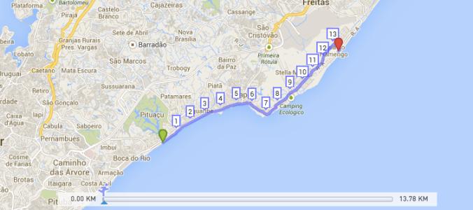 Percurso pelo litoral norte de Salvador