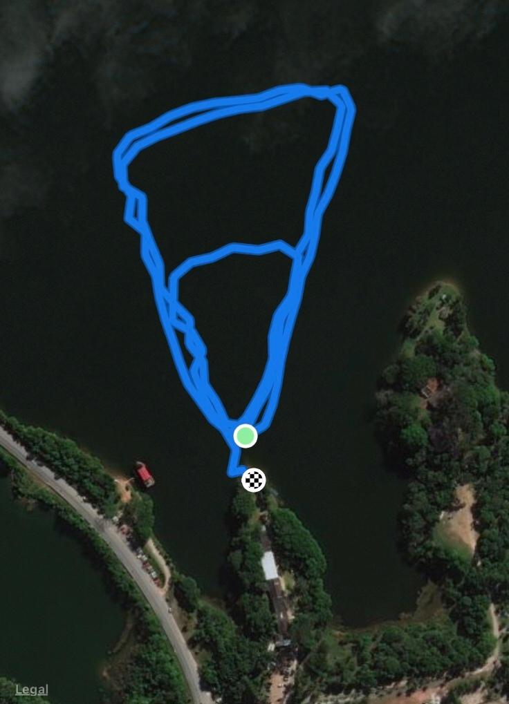 Percurso de natação no Riacho Grande